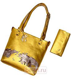 Золотистая кожаная сумка со слонами, Мастерская сумок Кургузовой