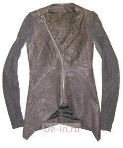 Кожаная женская серая приталенная куртка с асимметричной молнией, Rick Owens, магазин DAYNIGHT