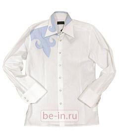 Мужская белая рубашка с аппликациями, Richmond, «Ангар-Бутик OK»
