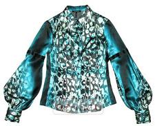 Шёлковая бирюзовая блузка с принтом, Roccobarocco, бутик Privacy