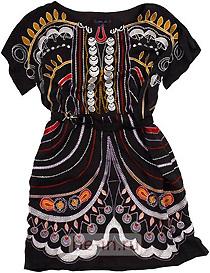 Чёрное платье с цветными орнаментами, Anna Sui, шоу-рум Ekepeople