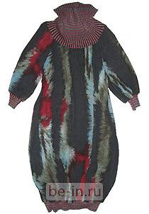 Платье-баллон жатое с вязаным воротником, Илья Челышев, Лаборатория Моды