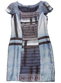 Коричнево-голубое приталенное платье, Nadia Nurieva, магазин «Российский дизайнер»