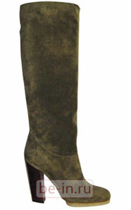 Сапоги замшевые оливковые на бордовых каблуках, Lanvin, магазин DAYNIGHT SHOES