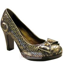 Коричнево-золотистые туфли на каблуке и платформе, магазин Giovanni Fabiani