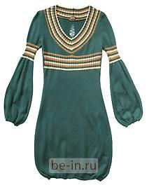 Трикотажное изумрудное платье, магазин Dань Моде