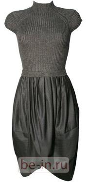 Тёмно-серое комбинированное платье Lanvin, шоу-рум «Кич»