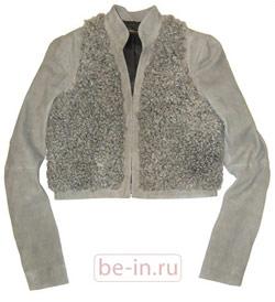 Женская серая кожаная куртка с каракулем, бутик BALENCIAGA
