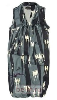 Платье шёлковое серое с птицами, Senada Theory, шоу-рум Ra Fashion