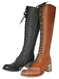 Женские кожаные сапоги на низком каблуке и шнуровке, магазин FREE-LANCE