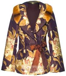 Женский жакет из гобелена и меха, Модный Дом «Alexander Petrov»