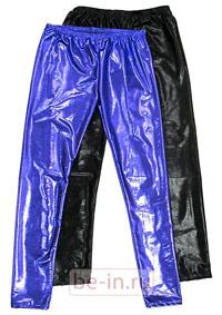 Леггинсы блестящие синие и чёрные, магазин SODA