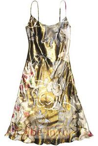 Шёлковое коктейльное золотистое платье с рисунком, Barbara Schwarzer, бутик BaRo