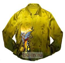 Блузка шёлковая с ручной росписью батик, магазин MOZAICA