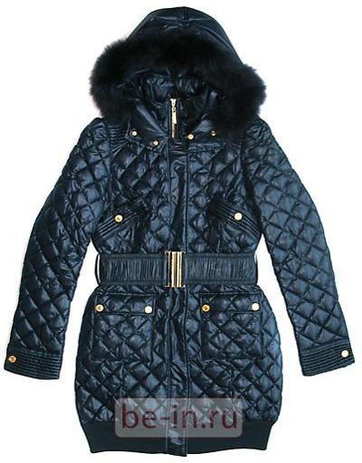Пальто пуховое женское стёганое тёмно-синее.