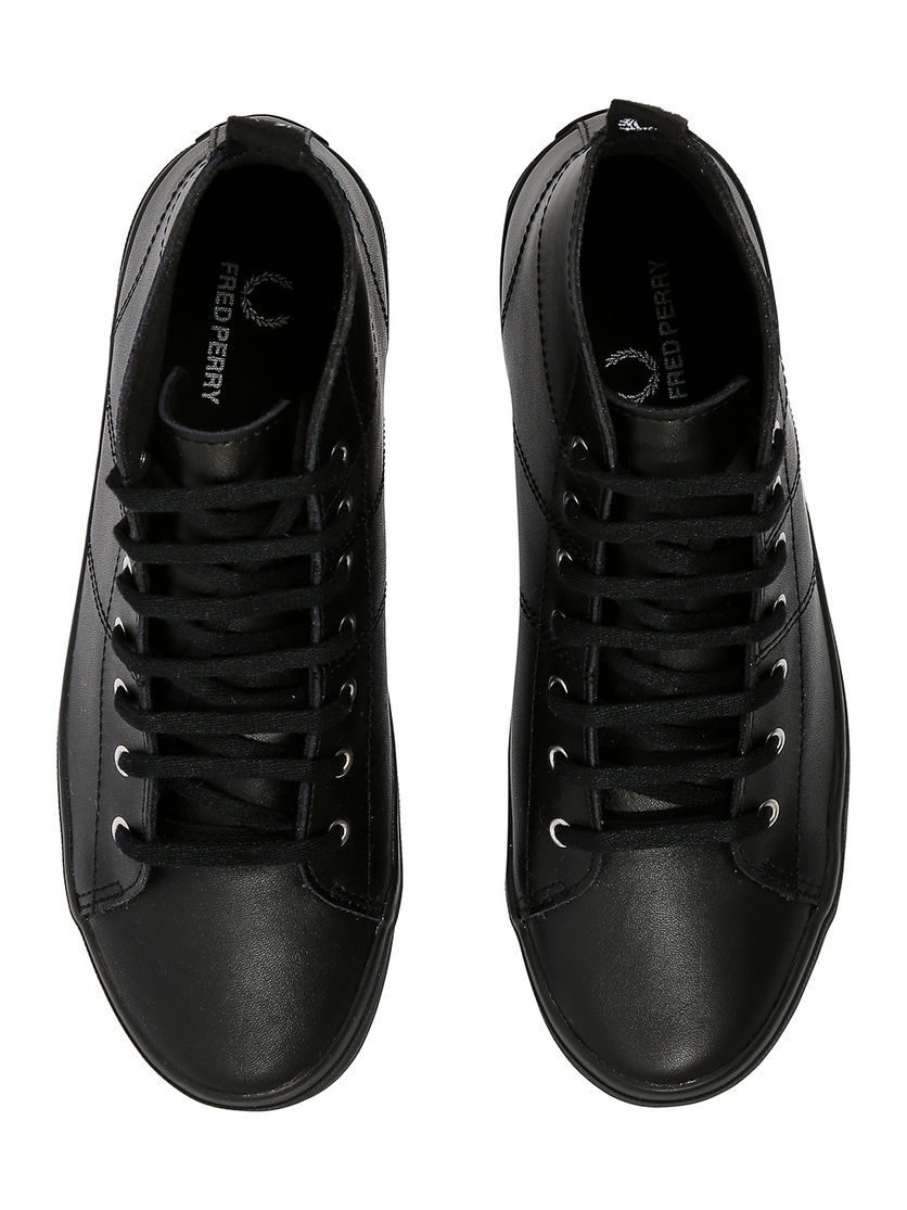 874a1434 Кеды женские кожаные черные на толстой подошве Fred Perry B9199W купить за  3495 рублей в интернет-магазине