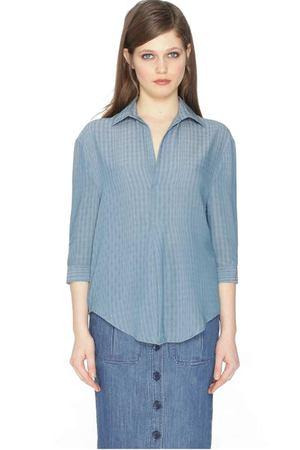 faeebee1e41 Блузка однотонная с воротником-поло и длинными рукавами