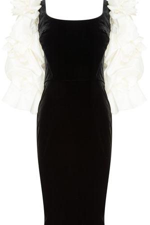0e9f081a656 Черное платье с белыми рукавами Marchesa 38896810 купить за 140250 рублей в  интернет-магазине