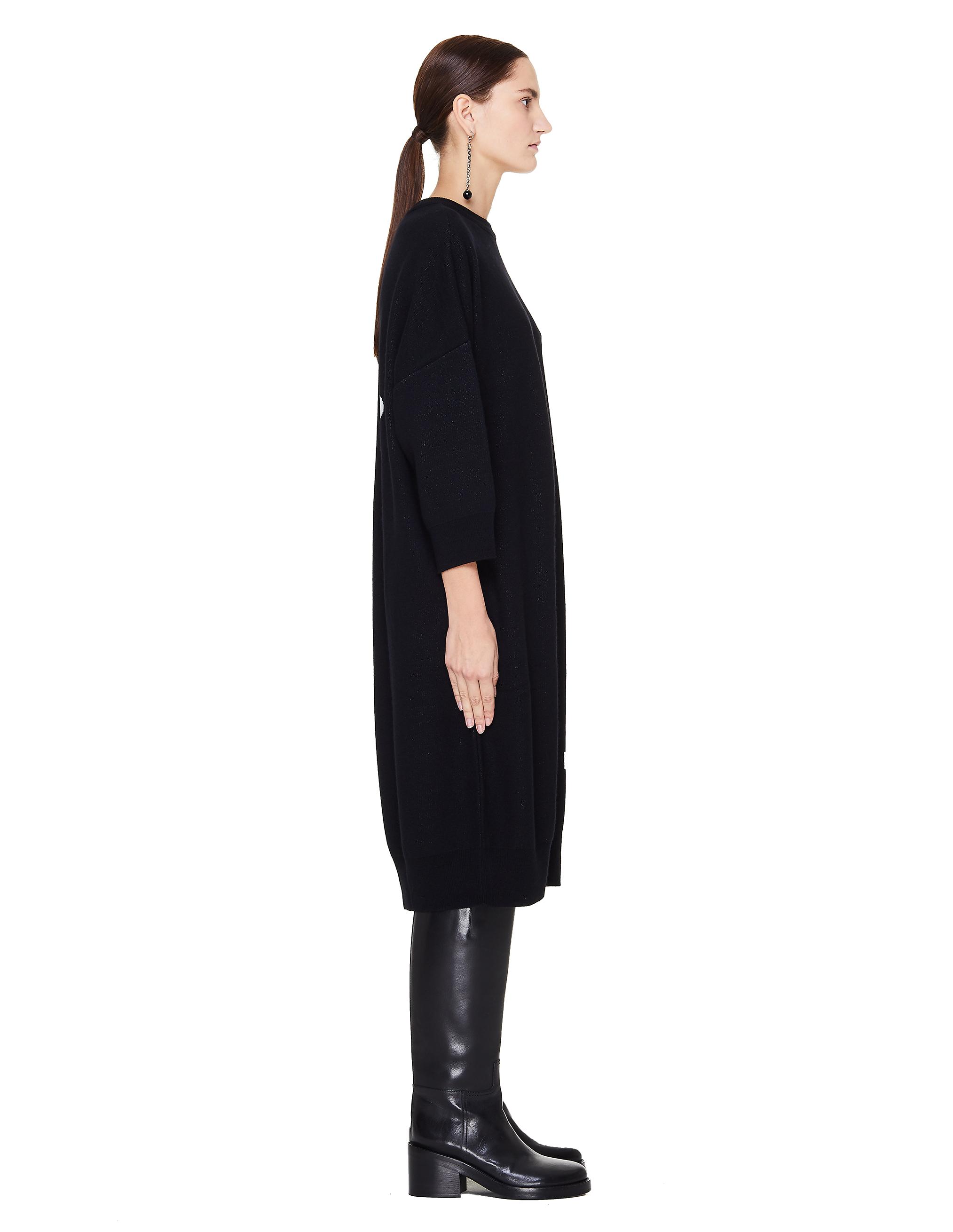 4b742f2ce83dcf6 Черное шерстяное платье-свитер Y's Yohji Yamamoto YV-K02-080/blk купить за  64200 рублей в интернет-магазине