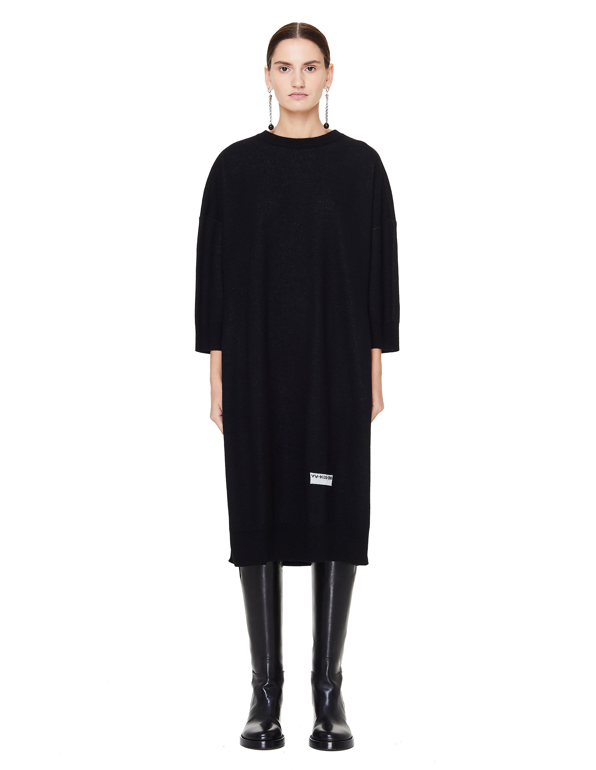 0ee35dcd4ff0cf0 Черное шерстяное платье-свитер Y's Yohji Yamamoto YV-K02-080/blk ...