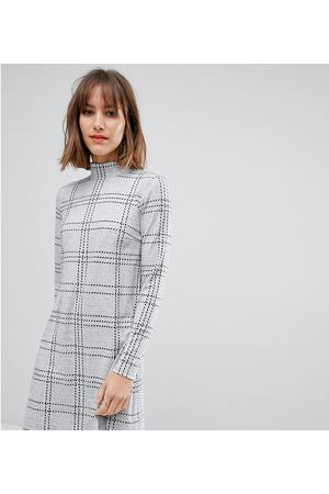 1e93a9d2922 Серое платье с высоким воротом в клетку Esprit - Серый