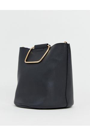 5f8eaaaf075f Черная сумка-мешок с металлическими ручками золотистого цвета Pimkie -  Черный