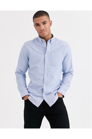 Оксфордская рубашка с логотипом на груди Jack & Jones Essentials-Синий