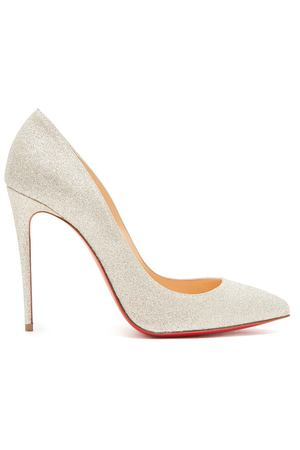 Серебристые туфли с глиттером Pigalle Follies 100 Christian Louboutin