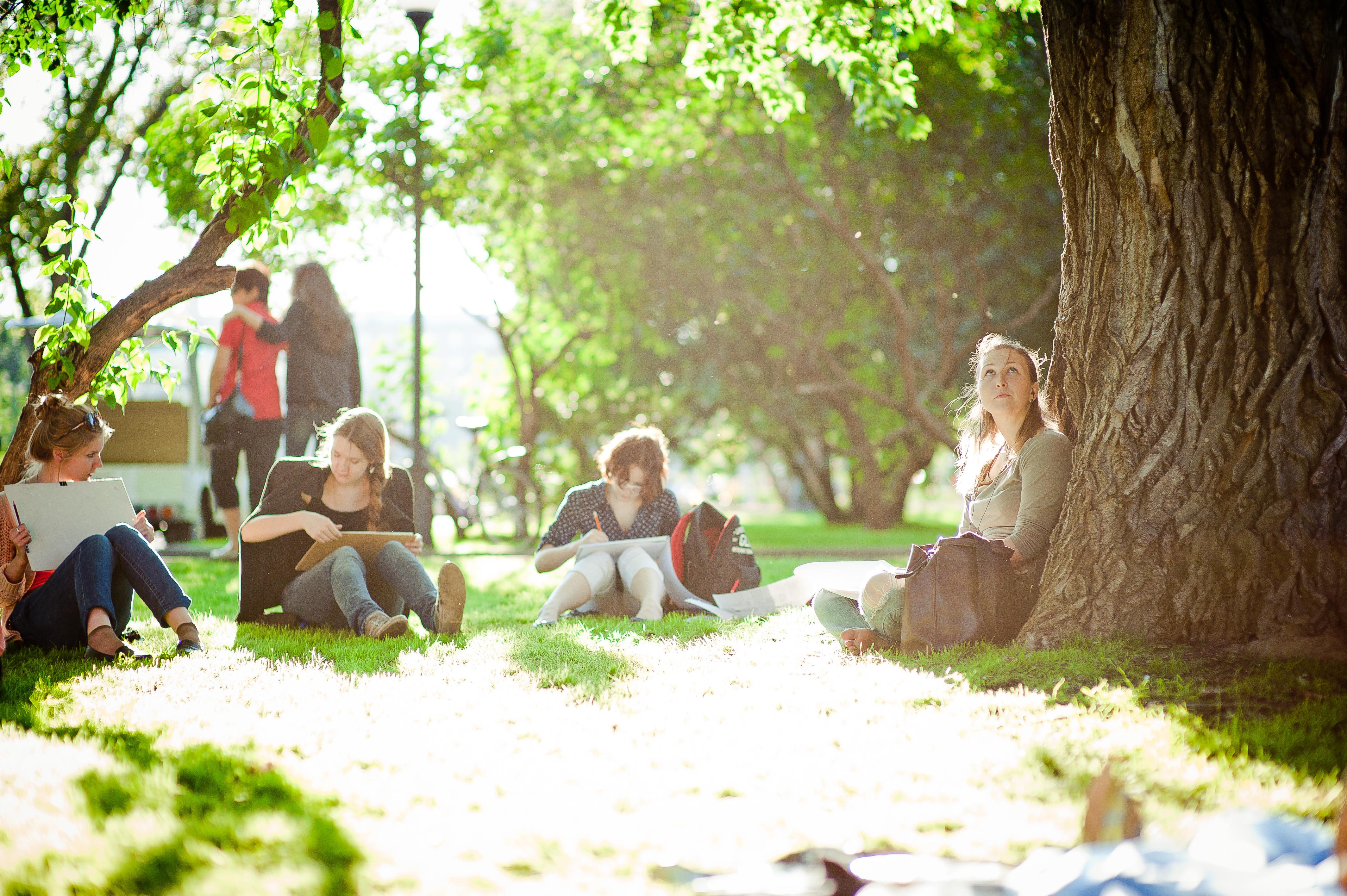 Студентка в парке 24 фотография