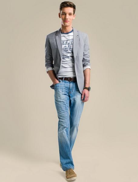 пиджак, мужской, серый, джинсы, мужские, голубые, с потертостями