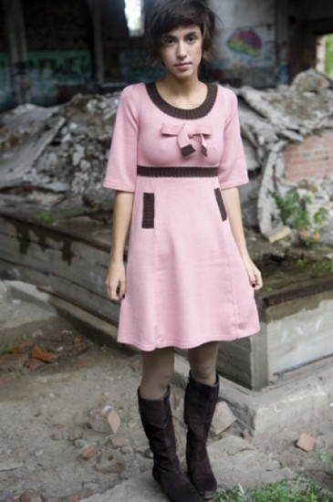 Платье трикотажное с рукавами 3/4.