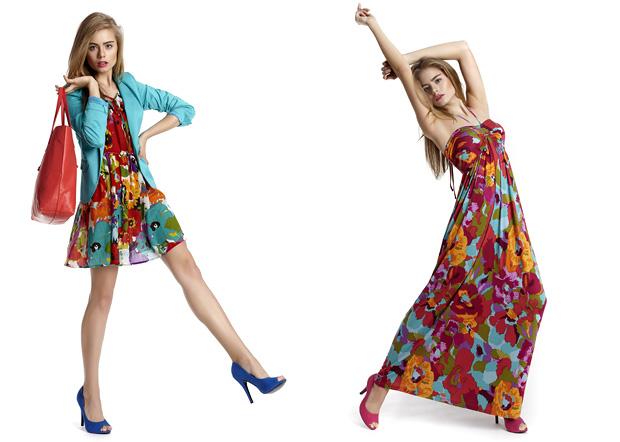 Платья с цветами цвета морской волны в
