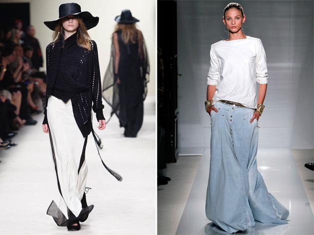 Тенденции моды. Платья в пол. Ann Demeulemeester весна-лето 2012, Balmain весна-лето 2012