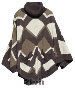 Женское пончо из трикотажа с геометрическим орнаментом, магазин H&M