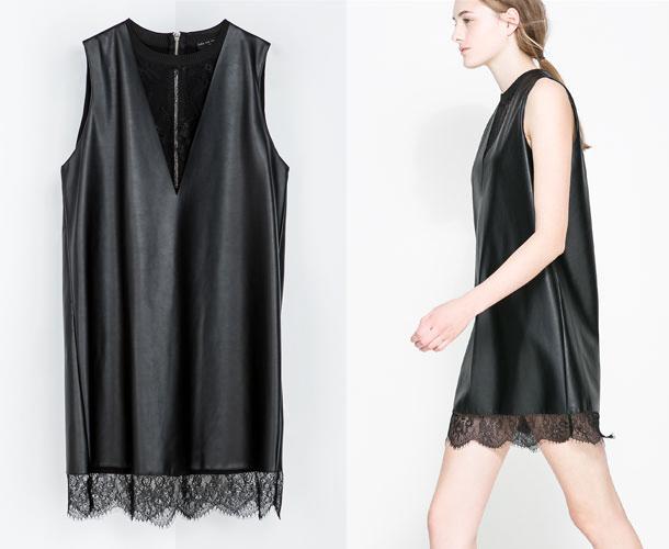 Платье из кожи зара