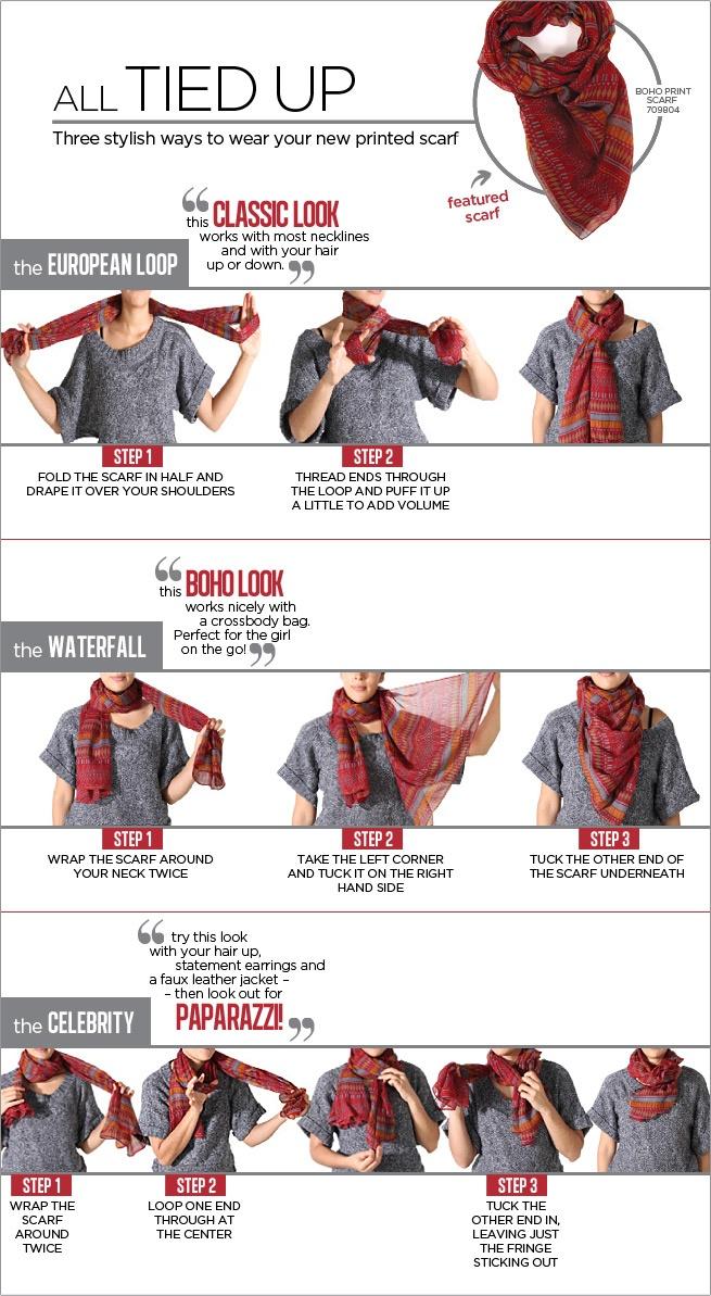 Как завязать шарф на платье