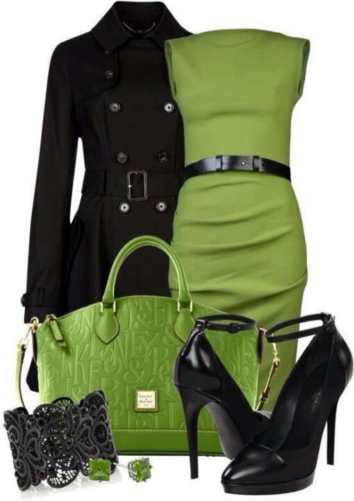 Аксессуары к желто-зеленому платью